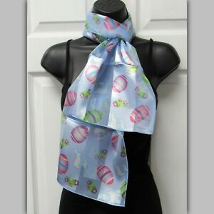 Womens Blue Scarf  Easter Egg Easter Bunny Satin Striped Scarf Blue