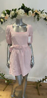 Neon Rose Dress Size XS 8 Gingham Square Neck Belted Puff Sleeves Pink ER12 NEW