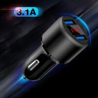 Dual Ports 3.1A USB Car Cigarette Charger Lighter Digital LED Voltmeter 12V/24V.