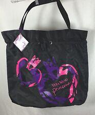 Vera Wang Princess Large Tote Bag Black Satiny Fabric Drawstring Top New