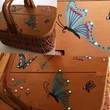 Vintage 50s Hand Painted Basket Purse Butterflies+Bee's 1950's Wicker Rhinestone