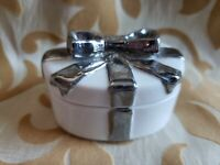 Vintage Porcelain Trinket Box Royal Crown Clear Glaze w/Silver Glazed Bow 2.75""