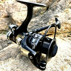 Black Spinning Fishing Reel Roller Coil Wheel Metal Spool Dual Brake Left Right