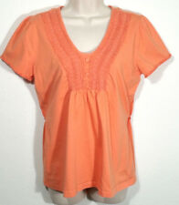 Fred David Women Size Large Top Orange Embroidered Shirred Shoulders Back Tie