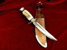 1950s Rare ERN SOLINGEN GERMANY STAG BONE ANTLER Vintage HUNTING KNIFE /CASE SET
