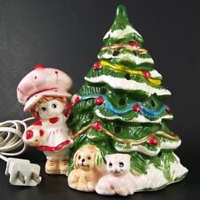 Vtg 1980 Strawberry Shortcake Lighted Ceramic Christmas Tree Lamp Cord Night EUC