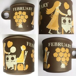 Vintage 1970s Hornsea mug February  Kenneth Townsend love Valentines Pancake Day