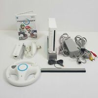 NINTENDO Wii White Console Mario Kart Bundle Inc 1 Controller + Wheel + Game