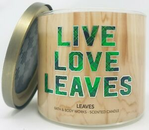 NEW BATH & BODY WORKS LIVE LOVE LEAVES SCENTED CANDLE 3 WICK LARGE 14.5 OZ WOOD