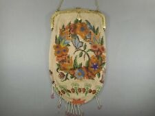 Antique c 1920 Micro Beaded Purse Butterfly Flowers Gilded Frame Chain Handle