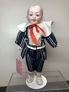 """10"""" Antique Hertel Schwab Bisque Boy Doll Germany #151 Jointed Compo Body SF2"""