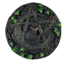 """Cat Pentagram Wall Plaque 7 1/2"""" Moon Vines Celtic Knots Wicca Pagan Witchcraft"""