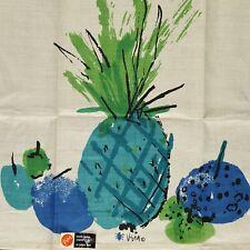 Vera Neumann Tea Towel Pineapple Vintage 60s 70s Retro Fruit Blue Ladybug Linen