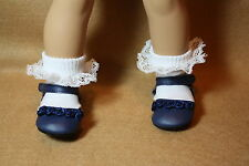 Doll Shoes fitting 18 inch American Girl Dolls Navy  Shoes w Rosettes & Socks