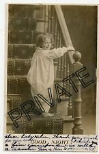 Real Photo Postcard - Little Girl Wearing Nightie Going Up Stairs - THORN Family
