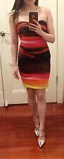 Kookai Multi Coloured Sleeveless Ruched Bodycon Dress Mini Dress Small Size