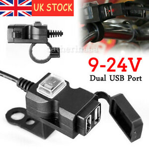 12-24V Motorcycle USB Charger Power Adapter Socket For Phone GPS Waterproof