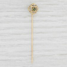 Antique Green Tourmaline Floral Stickpin 10k Yellow Gold Solitaire