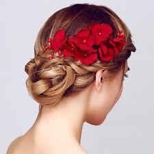 Crystal Rhinestone Rose Flower Pearls Hair Clip Hair Pins Comb For Women Bridal