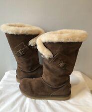 Ugg Australia Women's Brown Suede Sheepskin Messenger Boots w/ Pocket 5358 Sz 8