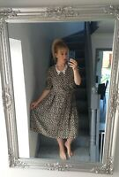 CANADA C&A WOMENS VTG RETRO FLORAL ABSTRACT BUTTON UP 80'S DRESS VGC UK 16