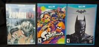 Nintendo Wii U 3 Game Lot Zombi U Batman Arkham Origins Splatoon Tested Working