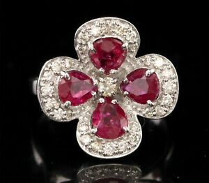 0.45 CT Natural Certified Diamond Ruby Ring 925 Silver SDR 19