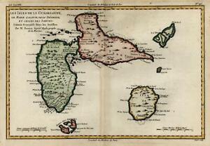 Guadeloupe Lesser Antilles Caribbean Galante 1780 Bonne engraved map hand color