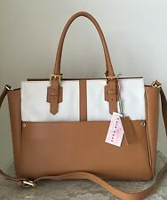 NWT Cuir Rose Italy leather luggage vanilla purse bag tote satchel Italian brown