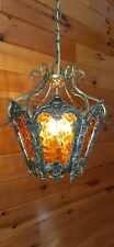 Vintage MCM Ornate Gothic Amber Glass Swag Light Fixture Lamp
