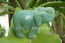 Feng Shui - Green Aventurine Elephant with Raised Trunk (Protection & Fertility)