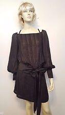 Collette Dinnigan Black & Gold Silk Dress Sz S Peep Shoulder Satin Bow Metallic