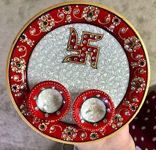 Multicolor Marble Pooja Aarti Thali Sindoor Dani Diya Set Thali Kundan Work Gift