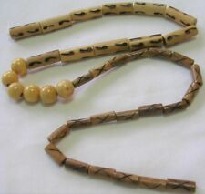 37 ASSORTED BAMBOO 9X25mm & 6X14mm TUBE & 12mm ROUND BEADS