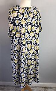 M&S Plus Size 22 Navy Yellow Floral Dress Short Sleeve Autumn Workwear Winter