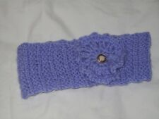 Ladies Hand Knit Lilac Headband with Lilac Crocheted Decoration - Large - BNWOT