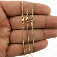 "Real 10K Solid Yellow Gold Box Chain Necklace 0.6mm, 0.8mm, 1.0mm 16"" - 24"" Inch"