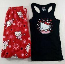 2006 Sanrio Hello Kitty Women's Juniors Tank Top Fleece Pants Pj's Set Medium