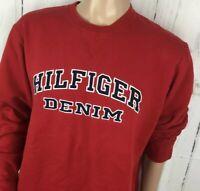 Vintage Tommy Hilfiger Jeans Sweatshirt Crewneck Retro 90s Spell Out Men L Red