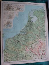 1922 LARGE ANTIQUE MAP- BELGIUM AND HOLLAND