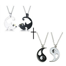 2pcs Stainless Steel Yin Yang Cat Necklace Set Couple Best Friend Puzzle Jewelry