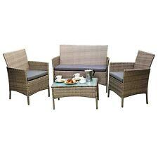 Garden furniture set gray rattan