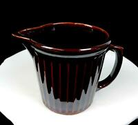 "USA CALIFORNIA POTTERY BROWN PANEL RIBBED 5 3/8"" MILK PITCHER 1950's"