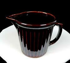 """USA CALIFORNIA POTTERY BROWN PANEL RIBBED 5 3/8"""" MILK PITCHER 1950's"""