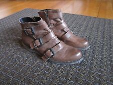 Crown Vintage Boots Booties Brown 6.5 Buckles Gently used FREE SHIP