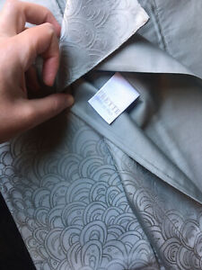 Auth FRETTE Duvet Sheet Pillow Set King In Bluish Gray Sateen Damask $5K NEW