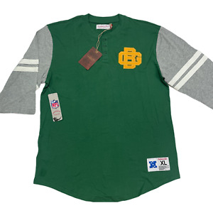 Green Bay Packers Mens Mitchell & Ness 3/4 Sleeve Henley Retro Shirt Size XL New