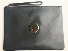 Mimco Mim Lovely LARGE Pouch Clutch Bag Polished Leather Black Authentic