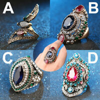 New Women Retro Turkish Jewelry Crystal Rhinestone Sapphire Ring Fashion Gift