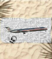 American Airlines McDonnell Douglas MD-80 with Airport Codes -  Beach Towel